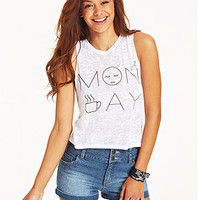Pretty Rebellious Juniors' Monday Graphic Muscle Tee
