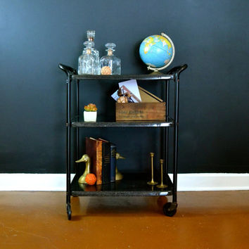 Vintage Black Enamel Cart, Bar Cart, Hollywood Regency 3 Tier Cart, Mid Century Rolling Cart, Removable Top Shelf Tray