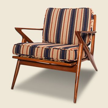 The Hill-Side Upholstered Wooden Chair - Navy/Red Stripe