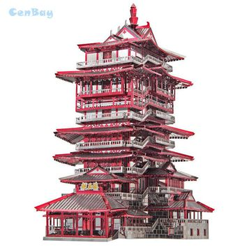 """Piececool 2017 Newest 3D Metal Puzzles of """"YUEWANG TOWER"""" From 7PCS Metal Sheets 3D Model Kits DIY Funny Gifts for Children Toys"""