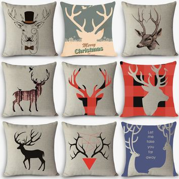 "New Arrival cheap cushions deer Print Home Decorative Cushion Throw Pillow 18"" Vintage Cotton Linen Square Pillows MYJ-A5"