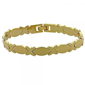 Gold Layered 03.118.0004 Solid Bracelet, Hugs and Kisses Design, Polished Finish, Golden Tone