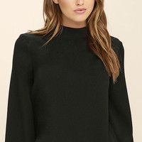 Style Student Black Long Sleeve Top