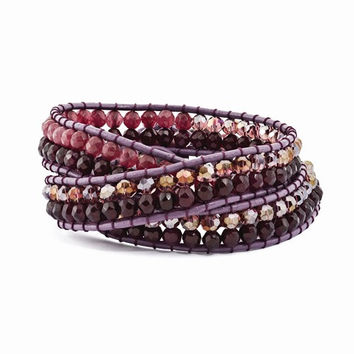 Purple Crystal and Red Quartz and Leather Multi-Wrap Bracelet
