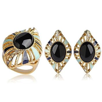 Blucome Dubai Jewelry Sets Blue Enamel Stud Earrings Ring For Women Mother Gifts Gold Color Alloy Brincos Anillos Mujer Schmuck