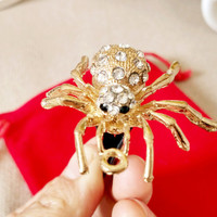 Crystal Golden Spider Car Decor Accessories Air Vent Clip