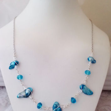 Wire Wrapped Electric Blue Baroque Pearl & Crystal Necklace
