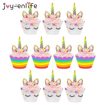 JOY-ENLIFE 12Sets Cute Unicorn Cake Topper Cupcake Wrappers Baby Shower Birthday Party Cake Decora Unicorn Theme Party Supplies