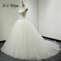It's Yiiya 2017 Off White Sleeveless Strapless Popular Wedding Dresses Court Trian Floor Length Simple Vintage Wedding Gown X002