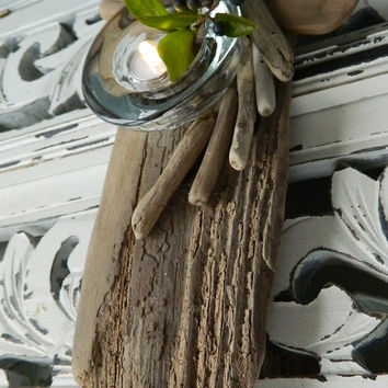Beach House Patio Candle Driftwood  Candle holder Artisan Crafted Coastal Home  & Garden Accent