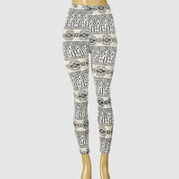 Aztec Boho Leggings Black & White
