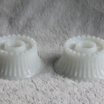 Vintage Milk Glass Candle Stick Taper Hurricane Lamp Holder (Set of 2), Hobnail Rim Design, Mid Century