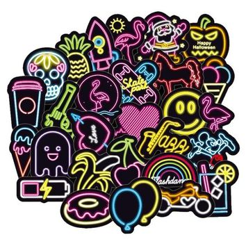 100pcs/pack anime Neon Light Stickers for Luggage,Laptop,Skateboard.