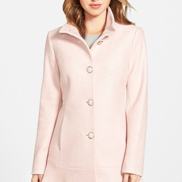 Women's kensie Single Breasted Ruffle Hem Coat,