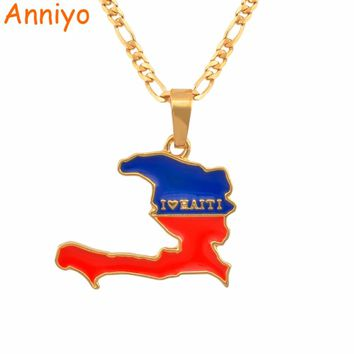 Anniyo (More Map Design Go To My Store) I LOVE HAITI Map Flag Necklace Pendants Ayiti Gold Color Jewelry Maps of Haiti #116006