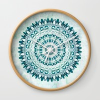 Deep Lagoon mandala Wall Clock by Lena Photo Art