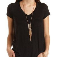 V-Neck Swing Pocket Tee by Charlotte Russe