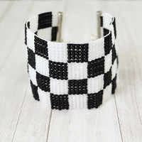 Bracelet black and white , checkerboard pattern , woven on a loom , black bracelet , bracelet with beads , white bracelet , wide bracelet
