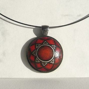 Red Mandala Necklace, Hand Painted Necklace Charm, Red Modern Pendant, Red, Gunmetal Setting, Black Choker Wire, Red Necklace by Artdora