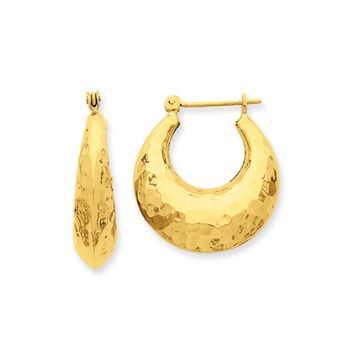 Wide Hammered Puffed Hoop Earrings in 14k Yellow Gold