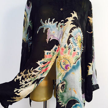Silk Tunic Blouse, Hand Painted Silk Blouse XL Vintage 90s Bohemian Blouse, Batik Art Blouse, Abstract Wave Design, Floral Batik, 100% Silk