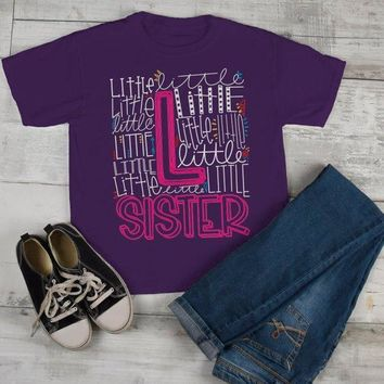 Girl's Little Sister T Shirt Typography Tee Matching Sibling Shirts Cute Tees
