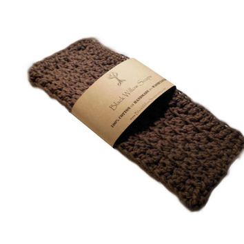 Handmade Crochet 100% Cotton Washcloth, Dark Brown, Housewarming Gift, Kitchen Cloth, Bath Cloth