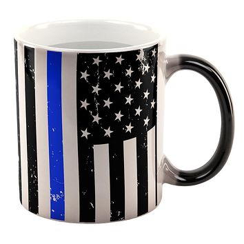 Distressed Thin Blue Line American Flag All Over Heat Changing Coffee Mug