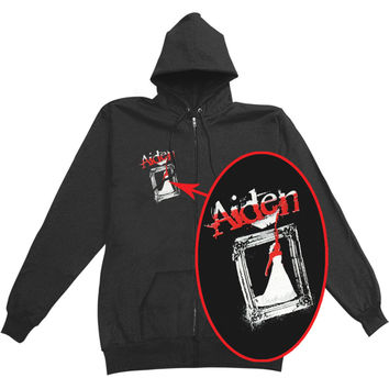 Aiden Men's  Zippered Hooded Sweatshirt Black