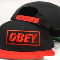 Obey Snapback Black / Red Two Tone Adjustable Plastic Snap Back Hat / Cap