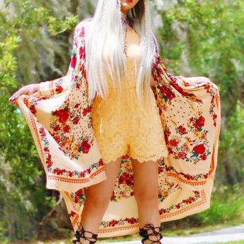 Lace Romper, boho festival summer romper, tangerine, True Rebel Clothing