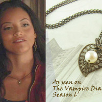 As seen on The Vampire Diaries Season 6, Pearl Leaf Necklace, Pearl Necklace,