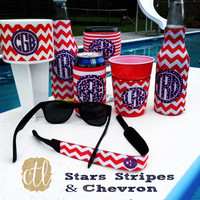 Personalized Drink  Coozies -  Coozie Monogram - Drink Cooler Gift - Stars Stipes and Chevron -Made in USA