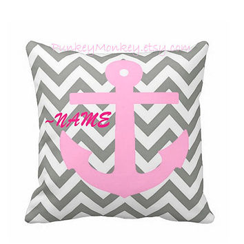 Girls nautical pillow 16x16 square toss pillow anchor beach theme ocean navy personalized pink grey