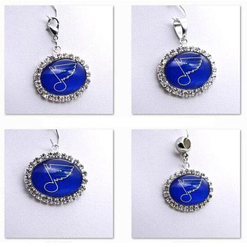Pendant Charms Rhinestone NHL St. Louis Blues Charms for Bracelet Necklace for Women Men Ice Hockey Fans Paty Fashion 2017
