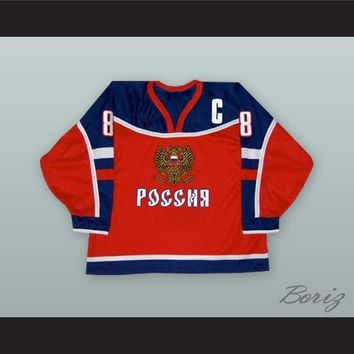 Alexander Ovechkin 8 Russia National Team Red Hockey Jersey