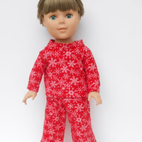18 Inch Doll Clothes, Boy Doll Clothes, Red Flannel Pajamas with Snowflakes, Christmas Pyjamas, Winter Doll Clothes, American Girl Size Doll