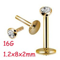 2Piece 16G 1.2x8x2mm Stainless Steel Clear Crystal Internally Thread piercing Labret Lip Ring Tragus Ear Piercing Helix