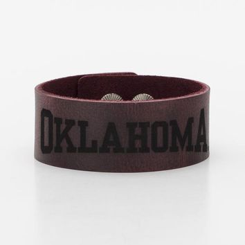 1.0 Engraved Leather Snap Oklahoma - Rustic Cuff
