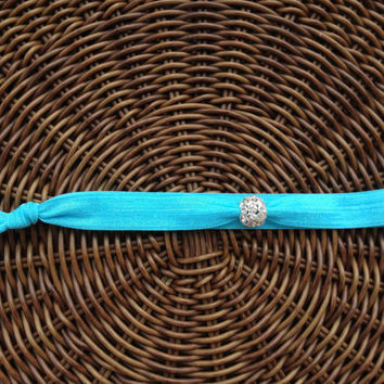 Solid Color Elastic Headband with Crystal Ball (and bracelet)