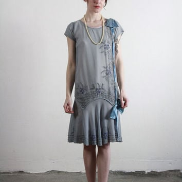 1920s Flapper Dress . Antique Silk Gown . Sheer Blue . 20s High Fashion . Couture