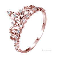 Jewels Obsession Dainty Rose Gold-plated Sterling Silver Princess Crown Ring