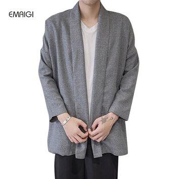 New China Style Cotton Linen Men Cardigan Loose Trench Jacket Kimono Shawls Coat Street Fashion Hiphop Trench Outwear