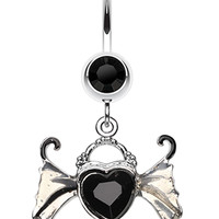 Angel Heart Wing Sparkle Belly Button Ring