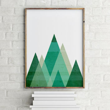 MOUNTAIN ART Printable Geometric Mountains Mint Green Print Green Geometric Art Green Mountain Print Mint Green Triangle Wall Art Print