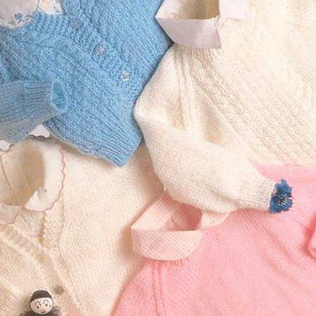 Baby Sweater and Cardigans Knitting Pattern PDF instant download Double Knitting yarn. To fit size 16 - 20 inch.