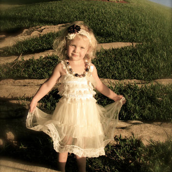 Lace Dress, Rustic Flower Girl Dress, Ivory Dress, Rustic Dress, Baby Lace Dress, Christening Dress, Baptism Dress, Flowergirl Dress, Gift