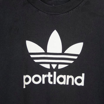 vintage Portland Adidas tshirt / black & white trefoil minimalist / sport athletic health goth / mens small - medium