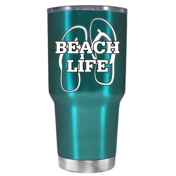 The Beach Life Sandals on Teal 30 oz Tumbler Cup