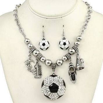 *Blinged Out Soccer Charm Necklace Set